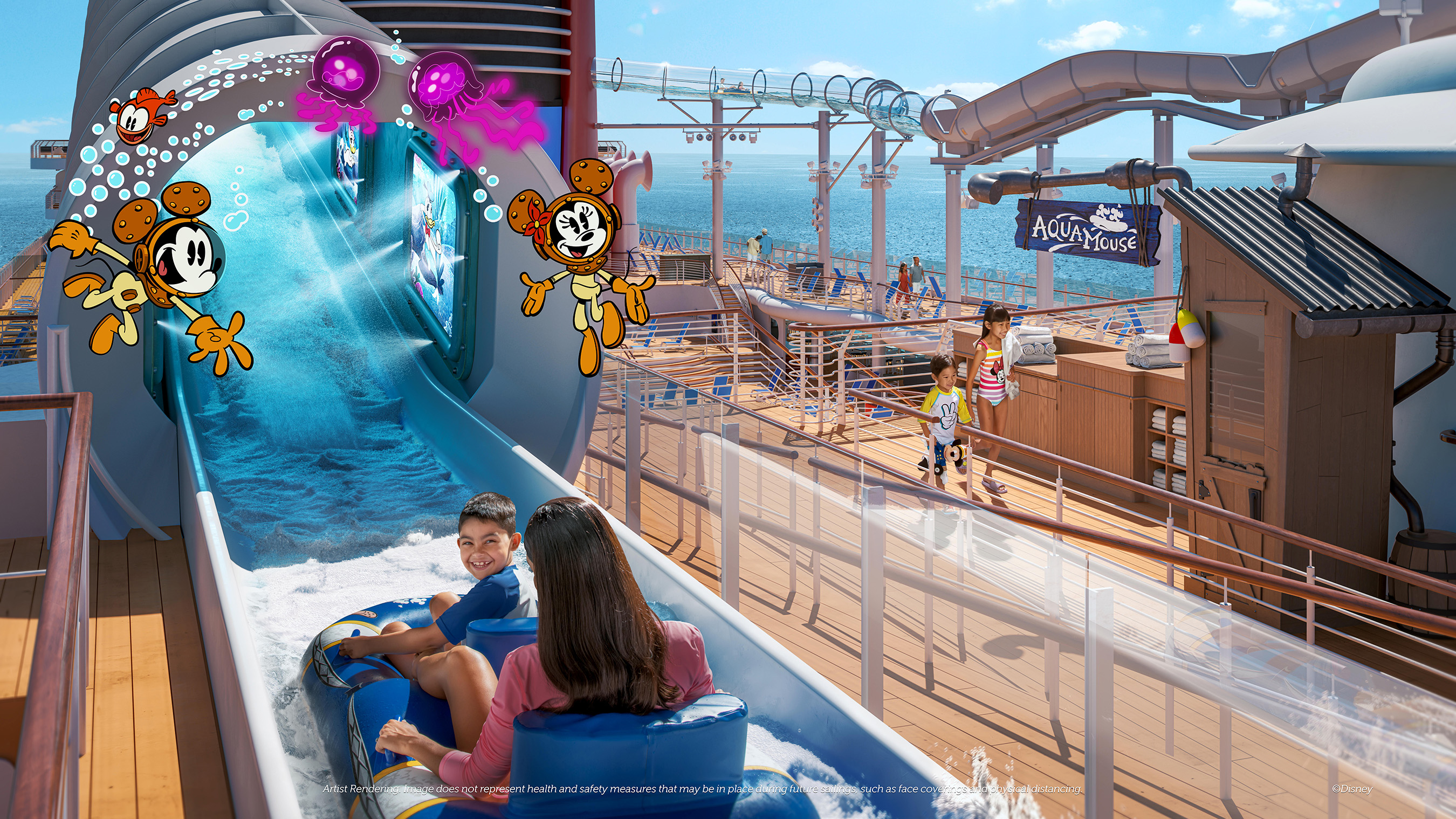 El AquaMouse del crucero Disney Wish.