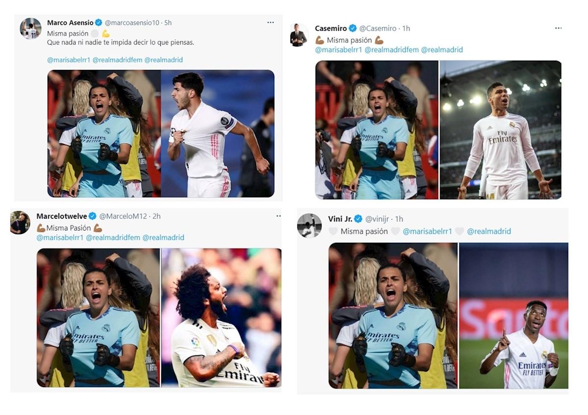 Los jugadores del Real Madrid apoyaron a su compañera del equipo femenino.