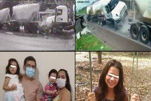VIDEO: Familia entera muere aplastada por fatal choque entre camiones de carga