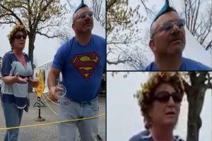 """VIDEO: """"Un hombre acaba de entrar al baño de mujeres y no está bien"""", pareja transfóbica lanza cerveza durante discusión"""