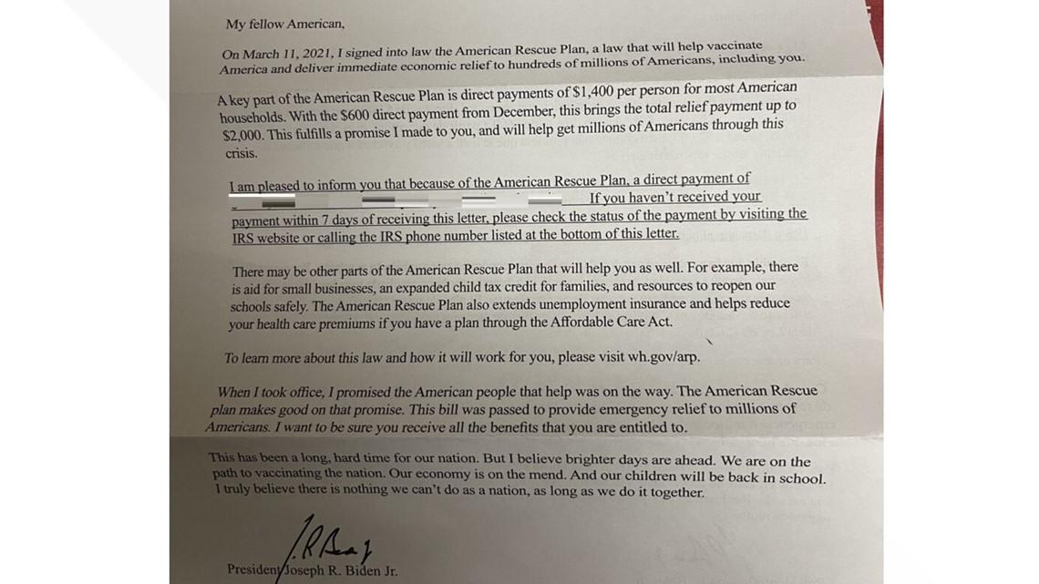 Carta del presidente Biden al recibir el cheque de estímulo