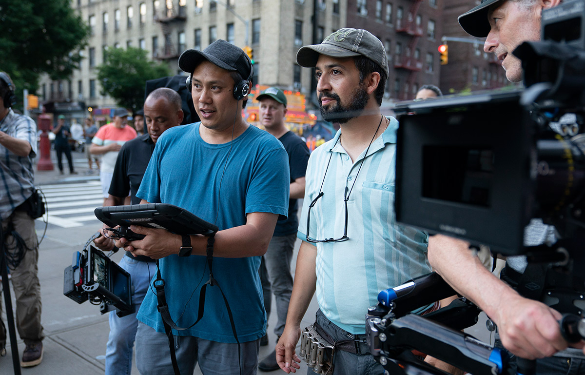 Jon M. Chu and Lin-Manuel Miranda during the filming of In the Heights.