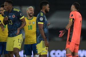 Video: tensa discusión entre Neymar y Miguel Borja al final del polémico Brasil-Colombia