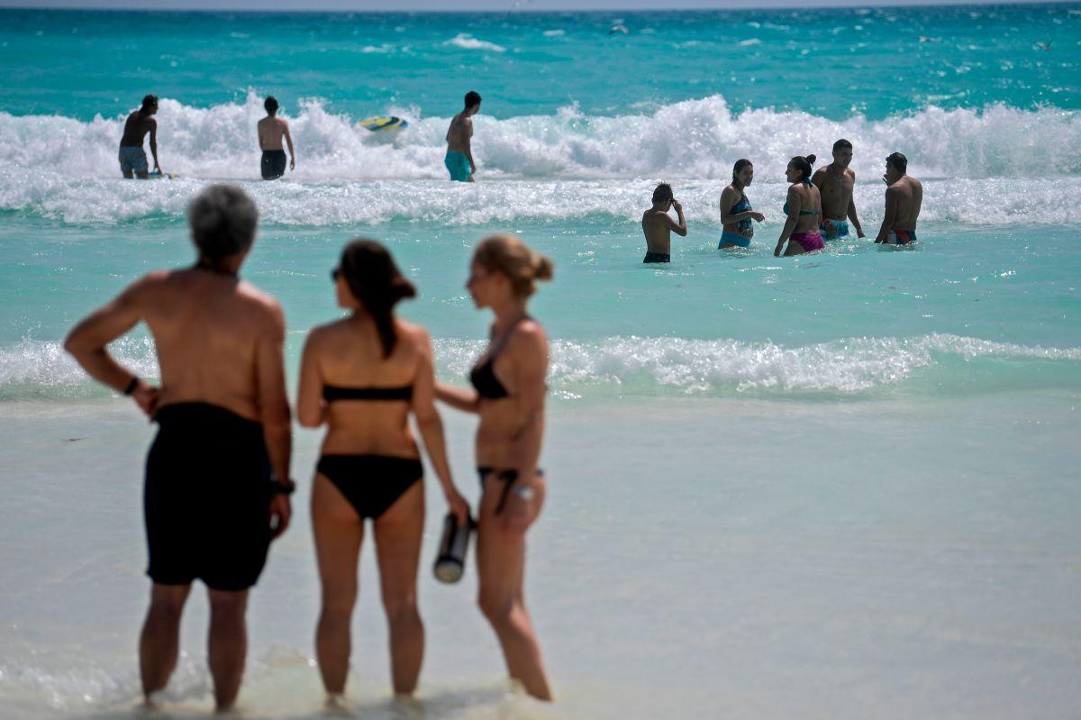 Una playa en Cancún, en el estado de  Quintana Roo en México.