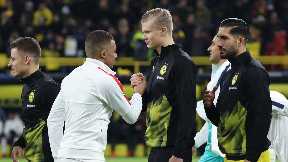 Haaland y Mbappé durante un partido de la Chmpions.