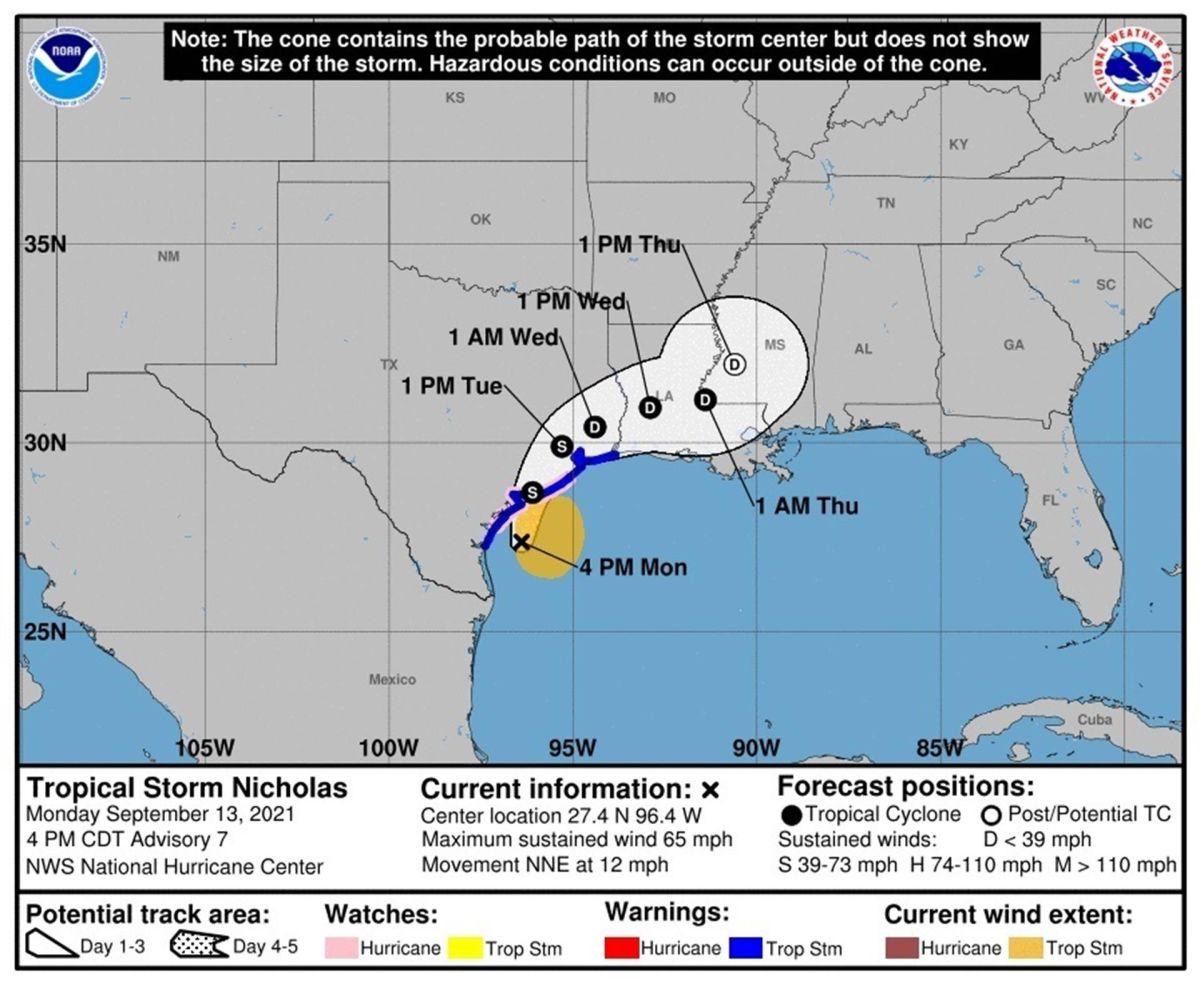 Se espera que también de su paso por el sur de Mississippi.
