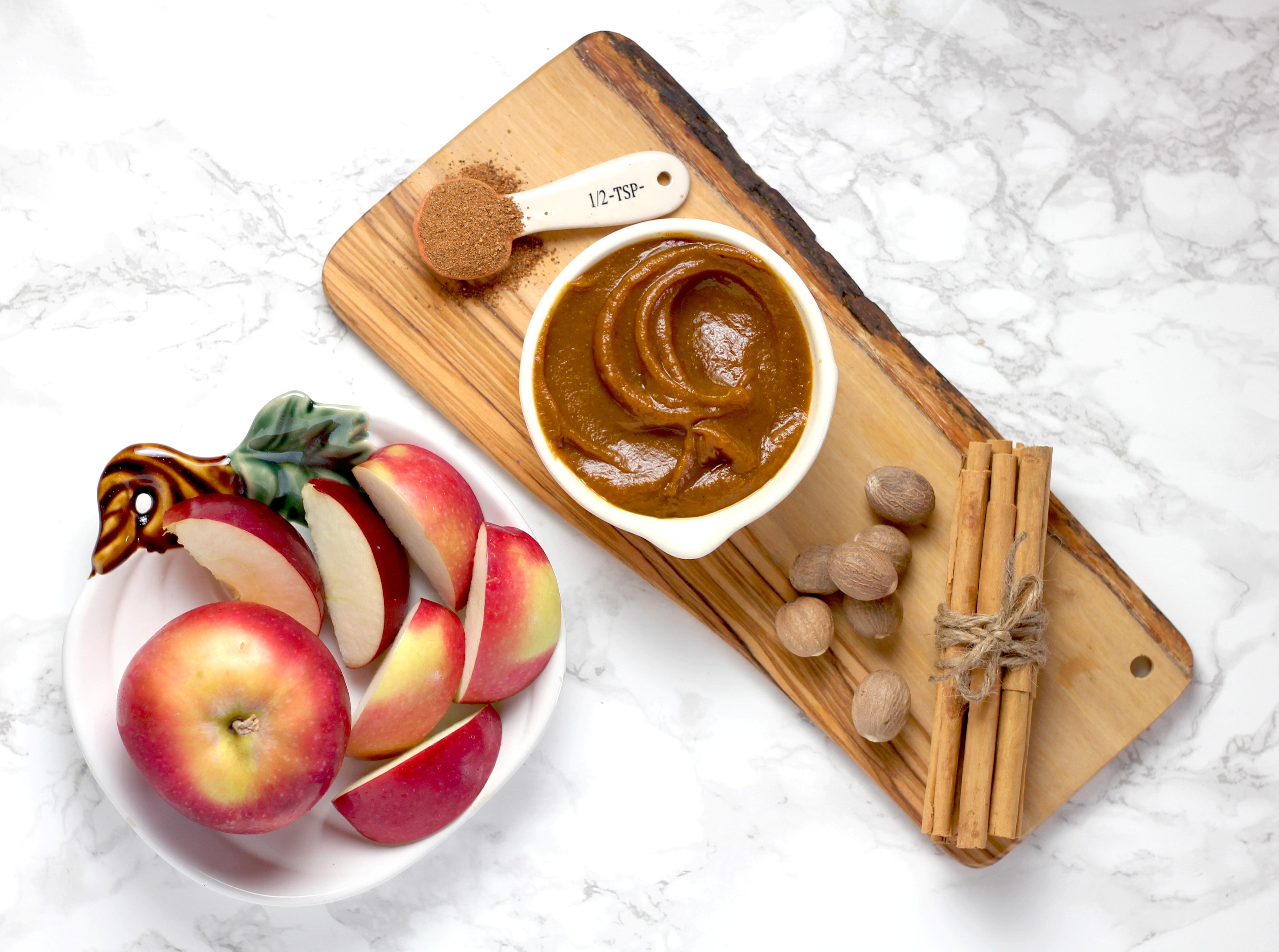 Crema de cacahuate con manzana