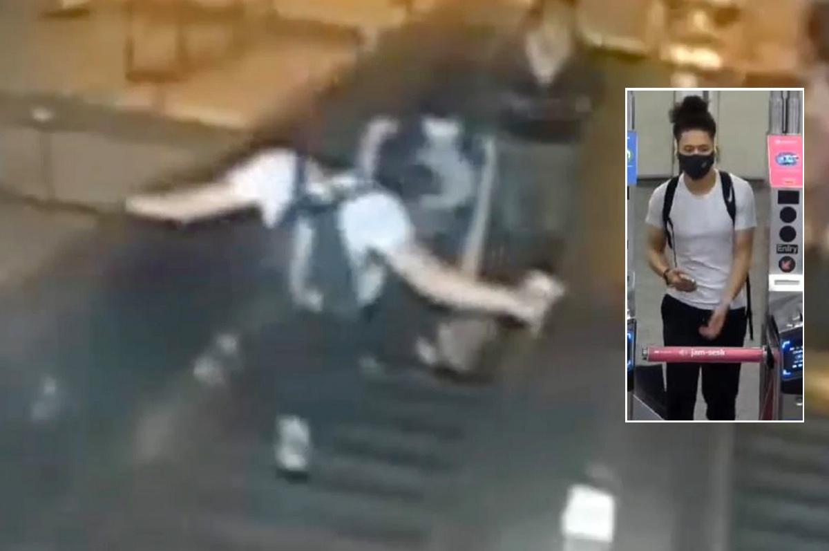 Video muestra a hombre pateando a mujer en escaleras eléctricas del metro de Brooklyn