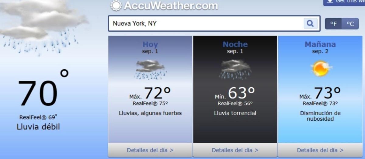Pronóstico del clima de ahora a mañana en NYC.