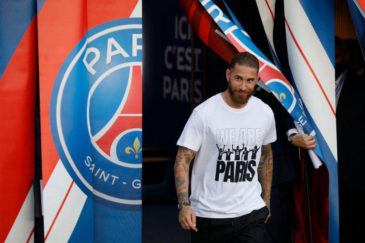 Sergio Ramos en la presentación de los jugadores del PSG, previo la primera jornada de la temporada 2021-22 de la Ligue 1 de Francia.
